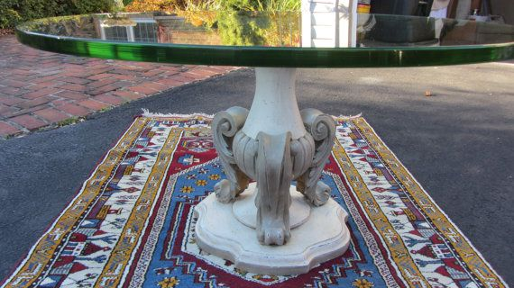 Classic Carved Wood Urn Shaped Base Glass Top Coffee by JMSxJMS, $250.00