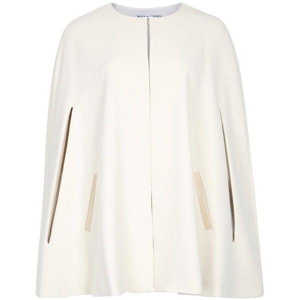 Womens Capes Alice + Olivia Trisha Cream Crepe Cape ($645) ❤ liked on Polyvore featuring outerwear, cape coat, alice + olivia, white cape coat and white cape