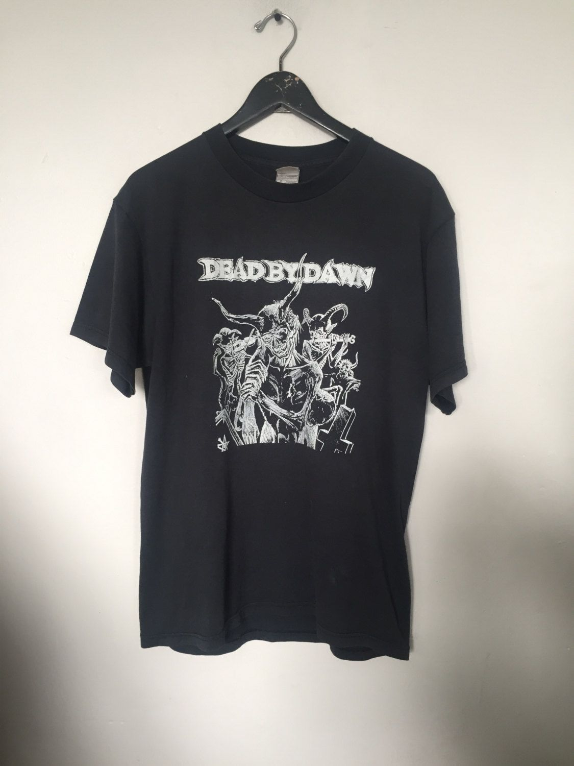 Black t shirt large - Dead By Dawn Tshirt Vintage T Shirt Heavy Metal Band T Tshirts Black Metal Shirt Death Metal Band Shirts Satanic Clothing Black Large