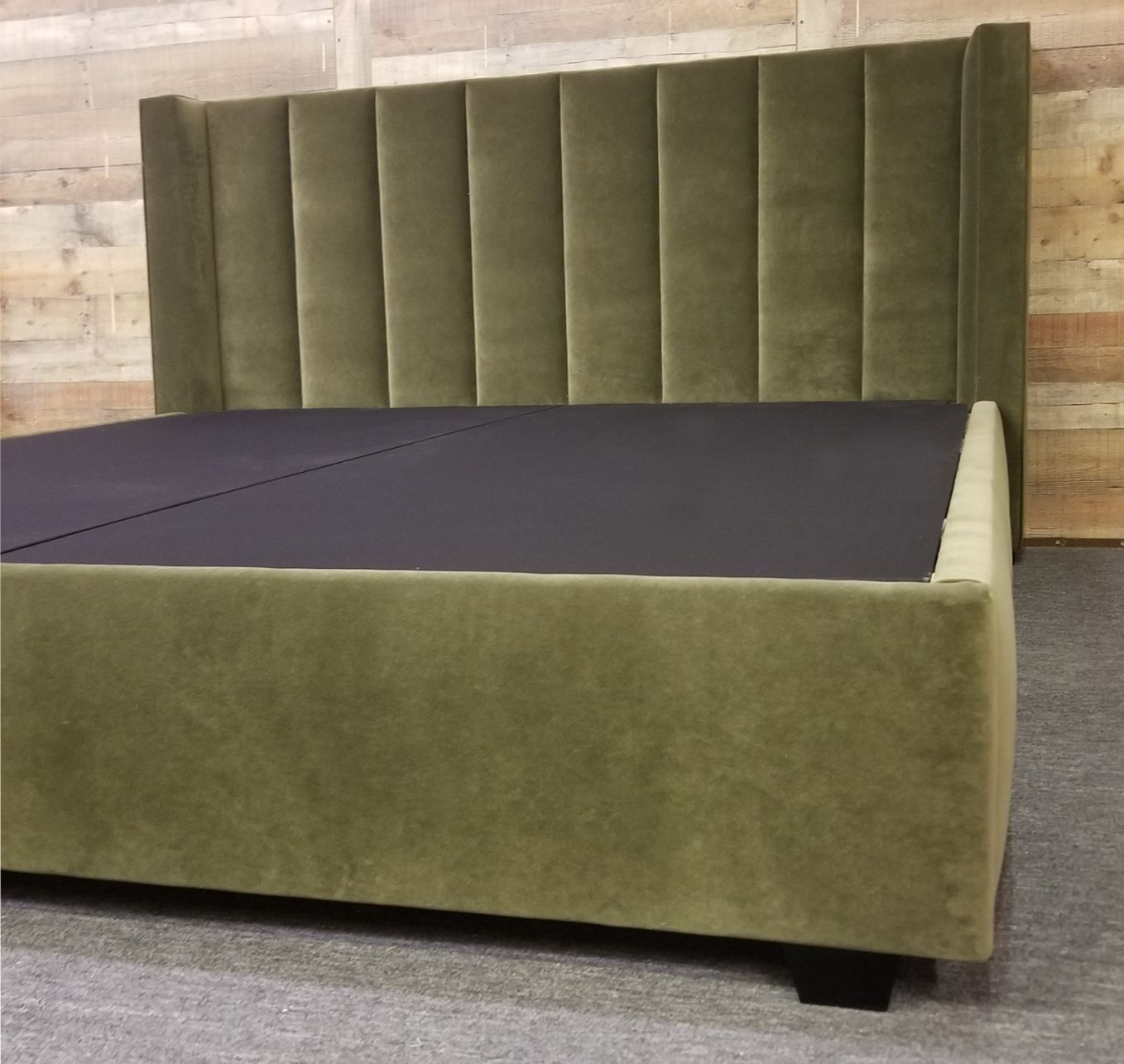 Upholstered In Olive Green Velvet Channel Detail With Wingbac And