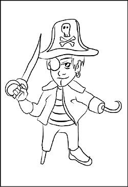 Pirat Mit Einer Augenklappe Und Einem Holzbein Piraten Malvorlagen Zeichnung