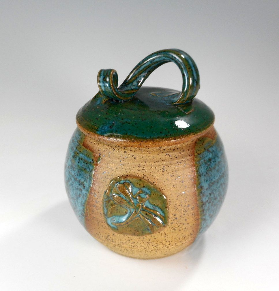 Ceramic Storage Jar With Lid Pottery Jar With Dragonfly Kitchen