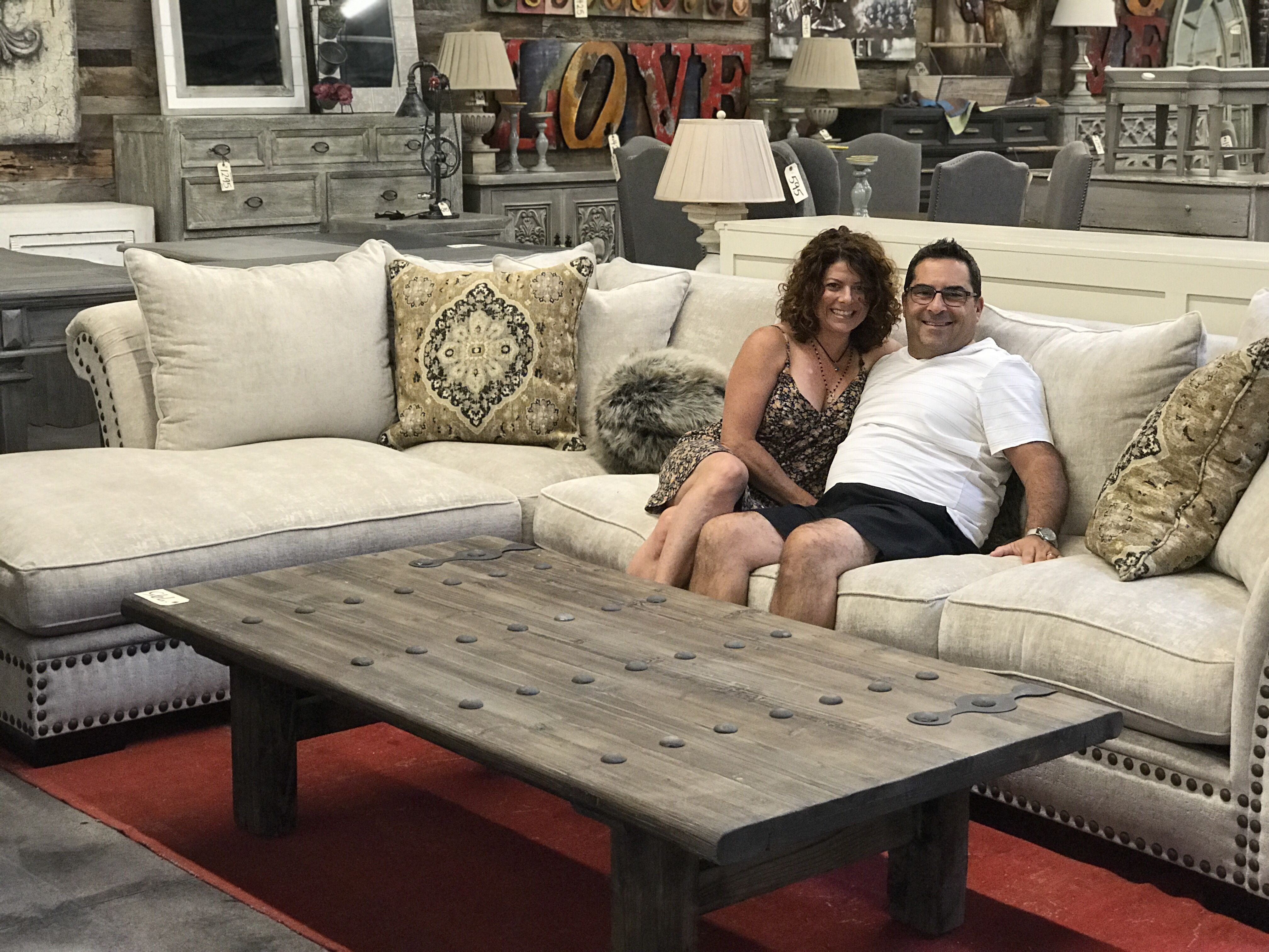 Amy And Lee Snatched Up This Custom Sofa + Chaise. A John Michael Designs  Custom Sofa. The Sofa Has Custom Gel Cushions.