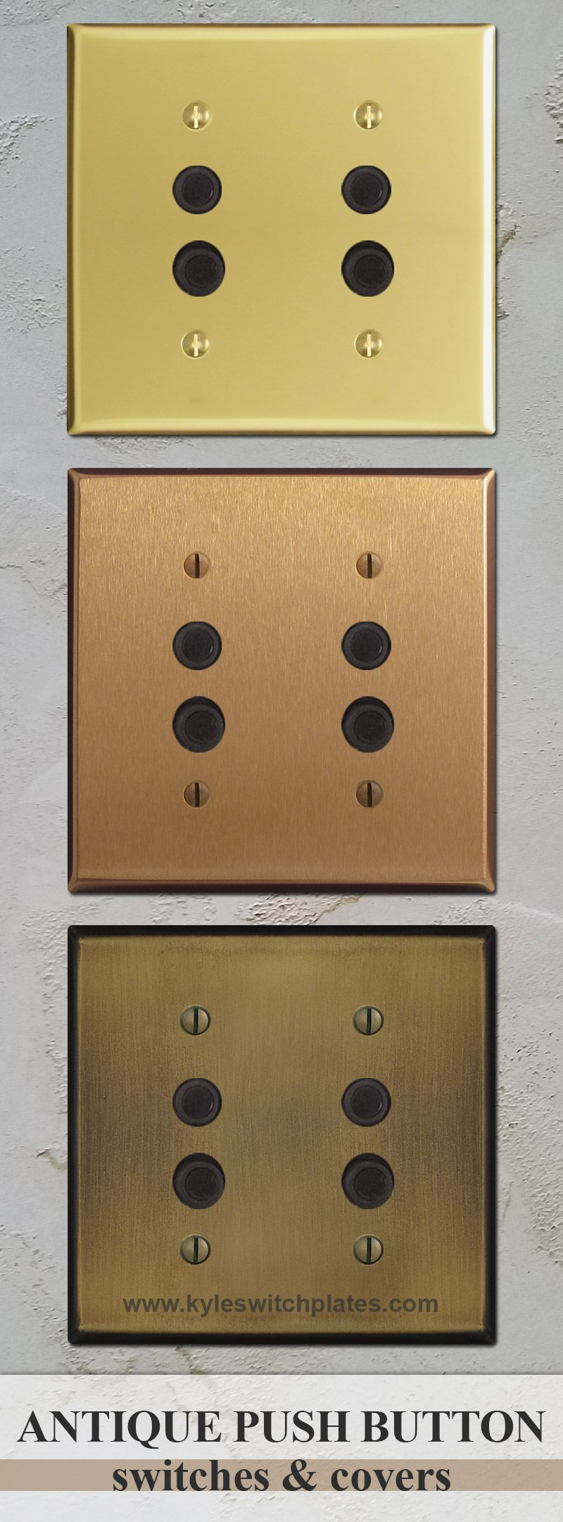 Buy antique push button switches & cover plates for vintage lighting.