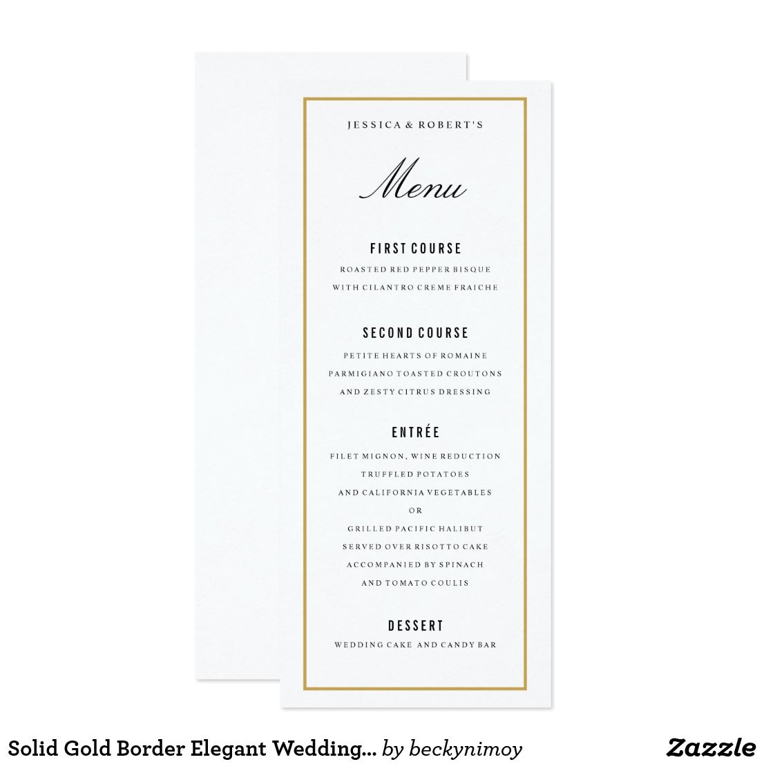 solid gold border elegant wedding menu card | menu cards, wedding