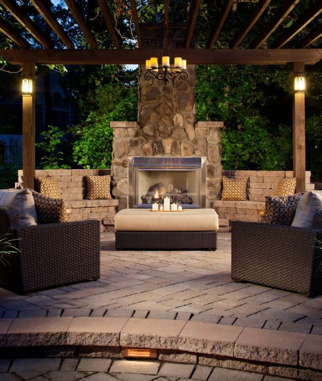 Stone Fireplace Next To The Outdoor Kitchen And A Lovely: Outdoor Decor- Brown And Beige