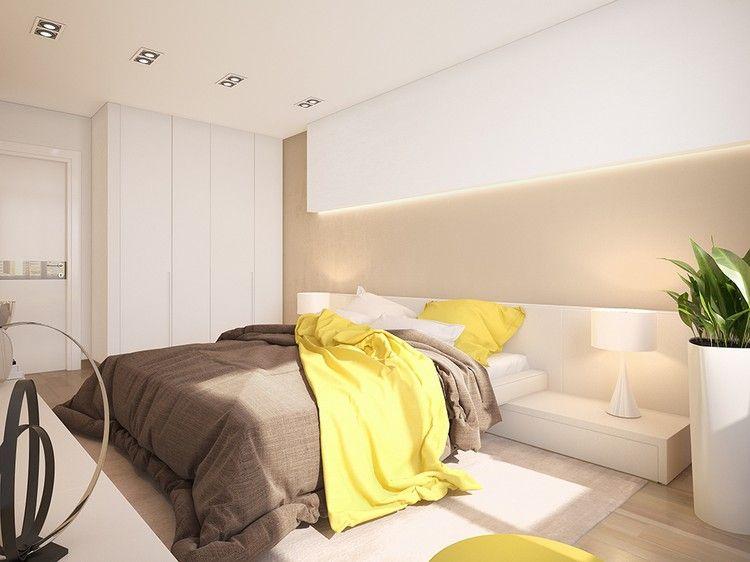 creme wandfarbe, weiße möbel und gelbe akzente | zimmer gelb ... - Beige Wandfarbe Weie Mbel