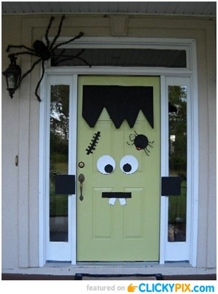 FUN FRANK What a fun Halloween door idea! I hope one day to have a bright green door on the front of our house . I can\u0027t wait to dress it up ... & Halloween Decorated Porch Ideas (22 Images) | DIY \u0026 Crafty ...