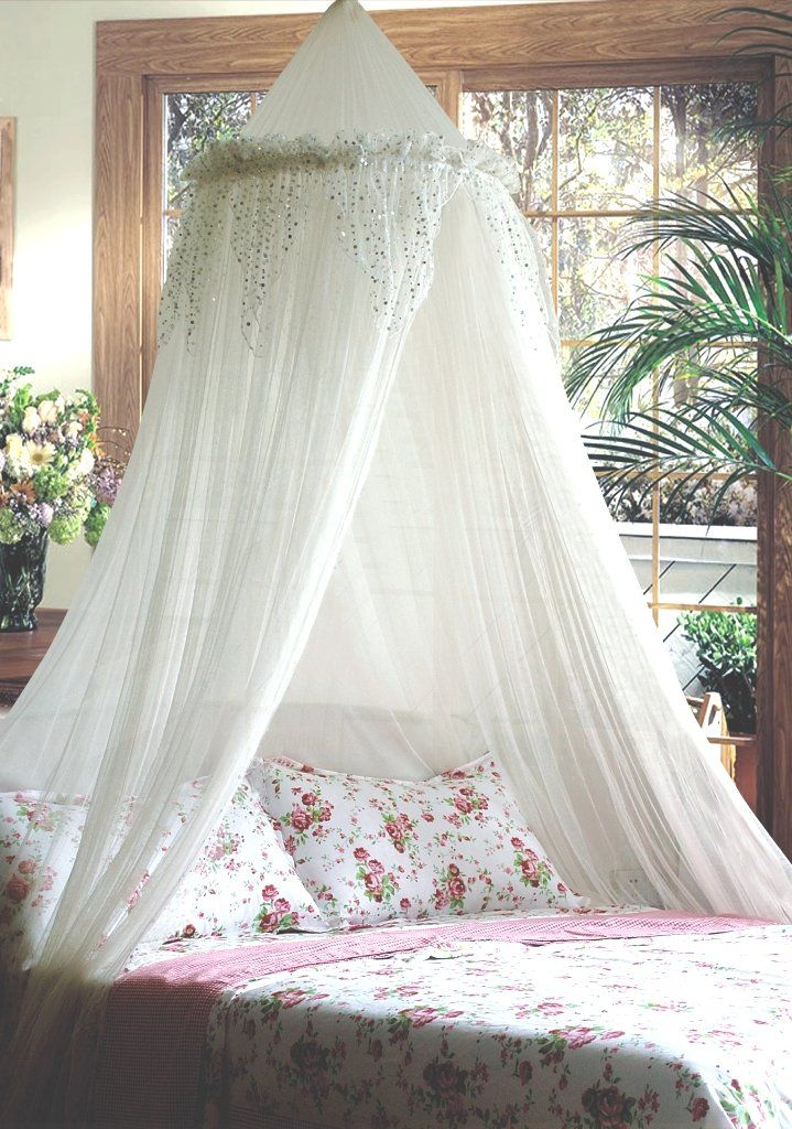 Mosquito Nets 4 U Bed Canopy with Silver Sequined Valance, White ...