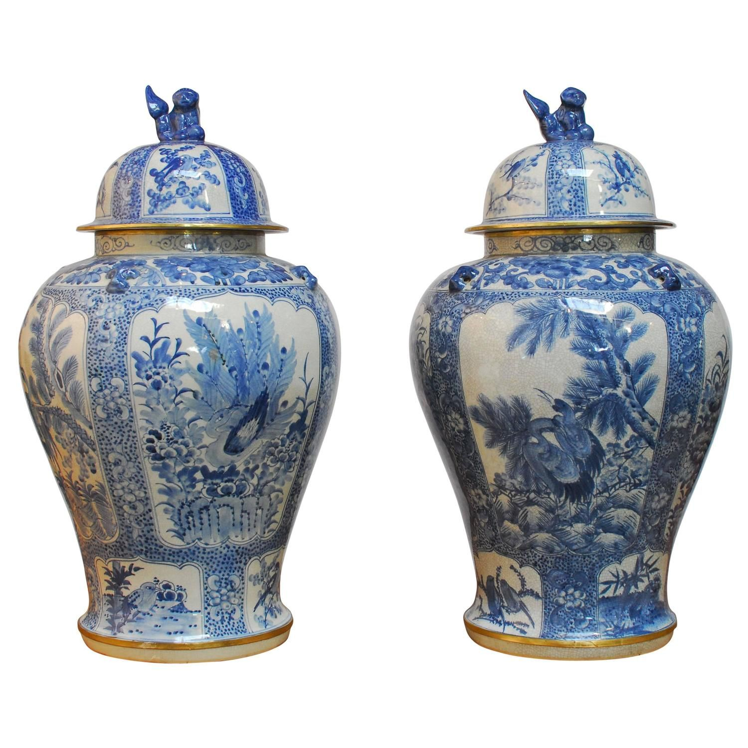 Pair Of Monumental Blue And White Temple Jars By Maitland Smith 1stdibs Com Temple Jar Antiques Maitland Smith