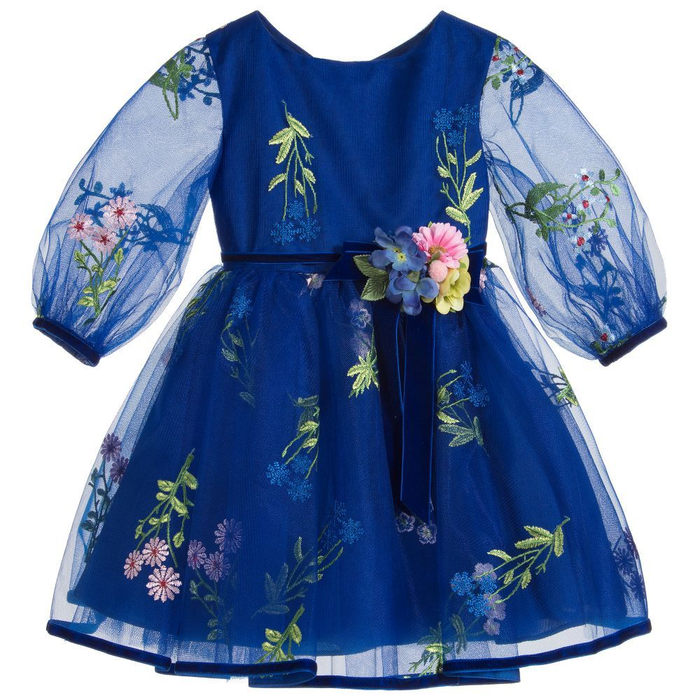 Blue embroidered tulle dress for girl by david charles