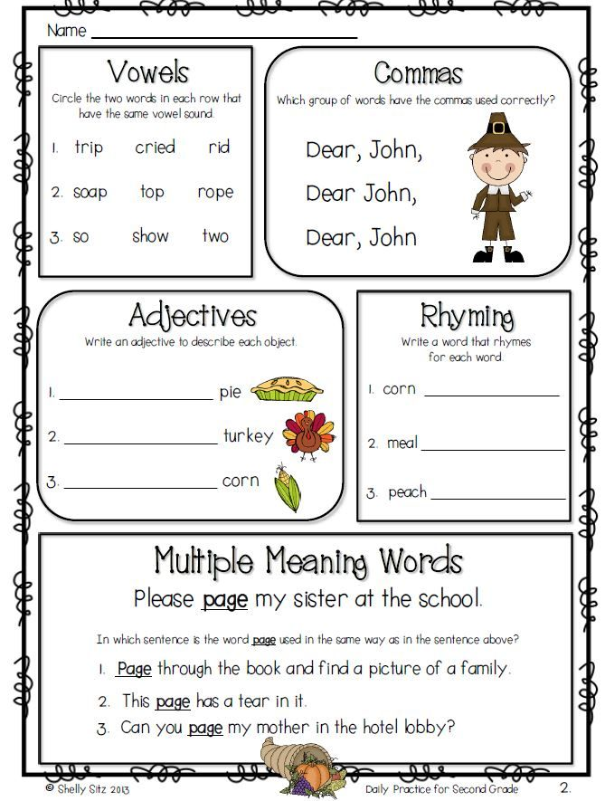 Daily Practice For Second Grade (November) Thanksgiving Worksheets, Second  Grade, 2nd Grade Ela