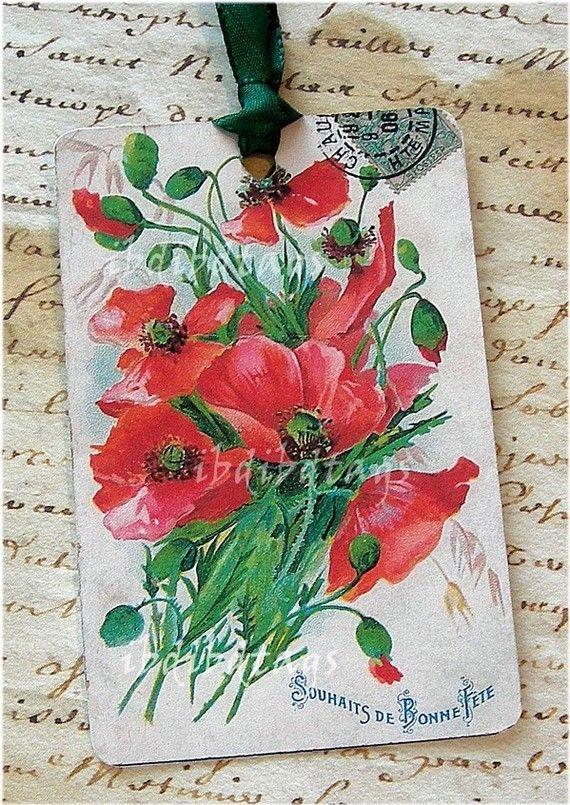 poppy set of tags