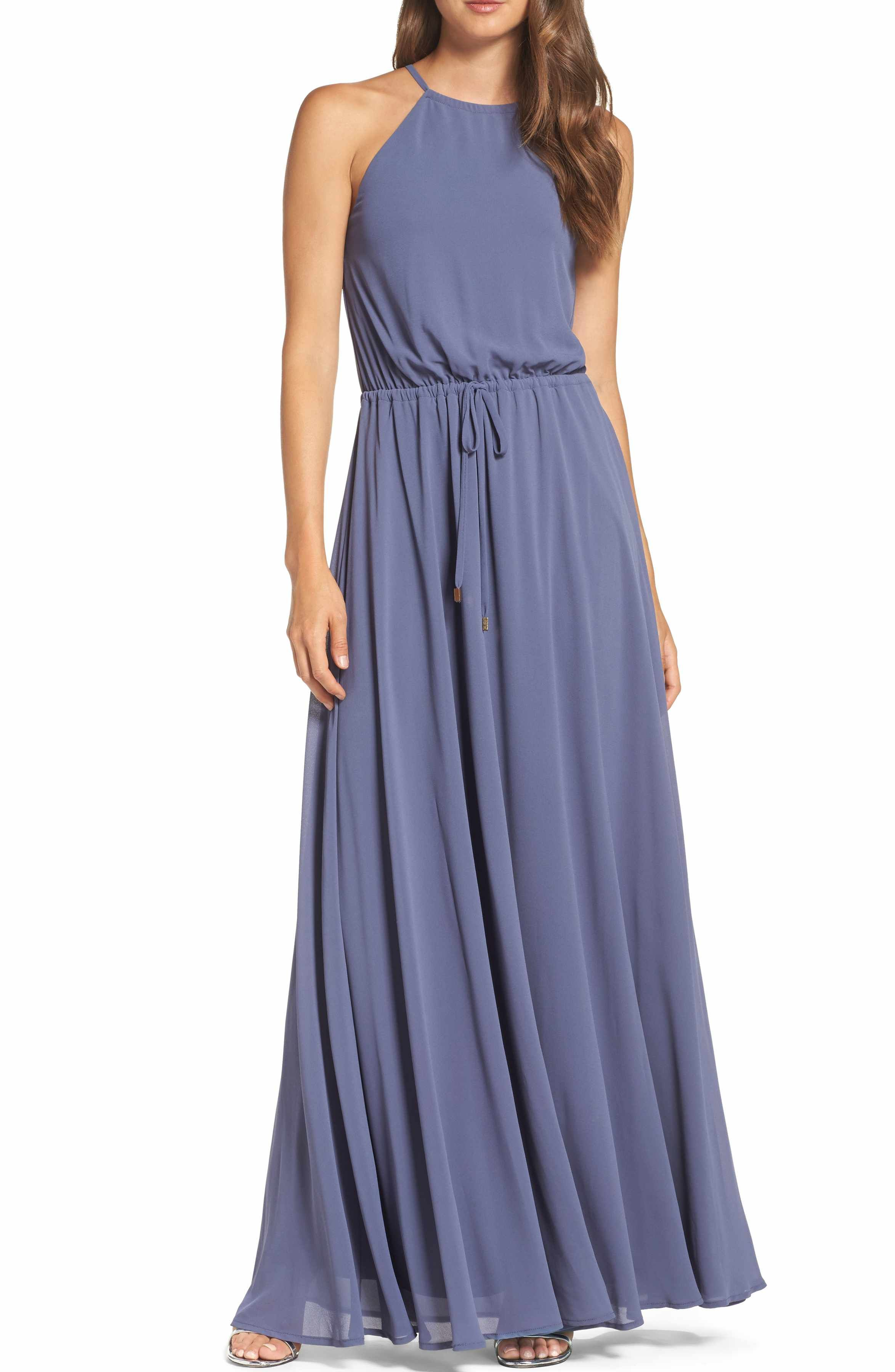 Lulus wedding guest dress  Lulus Be Mellow Cutaway Shoulder Chiffon Gown in Denim Blue