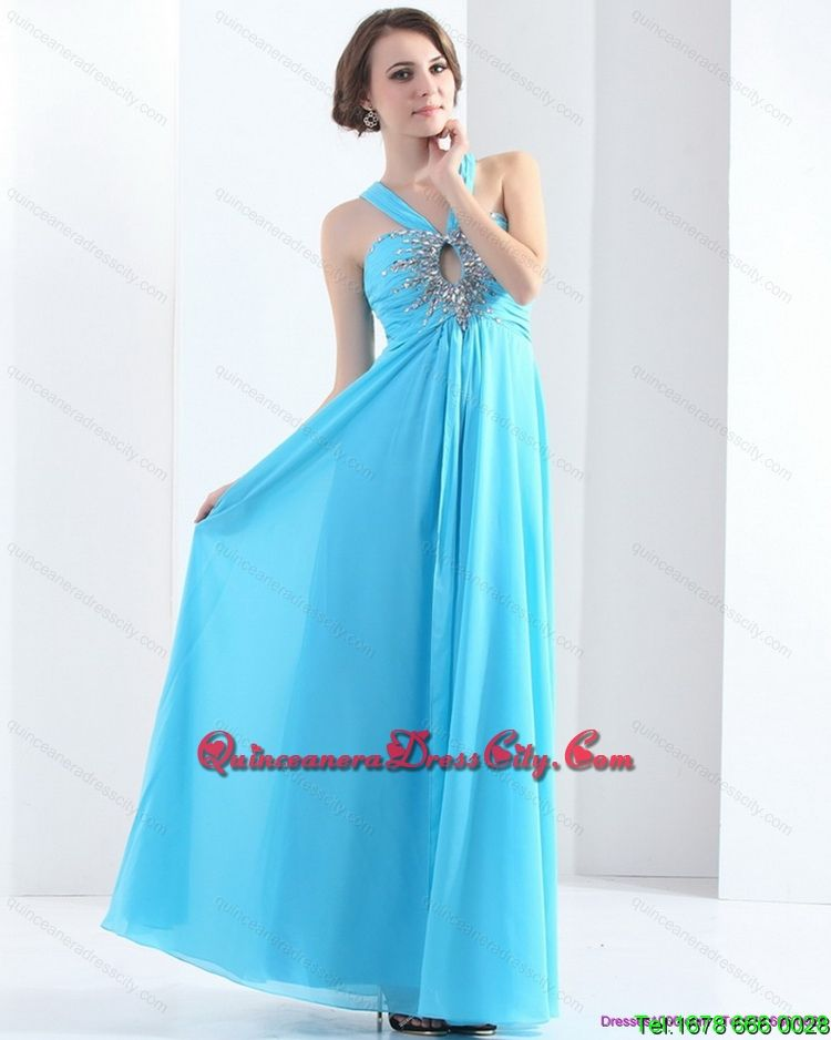 Gorgeous Halter Top Floor Length 2015 Dama Dress with Ruching and Beading