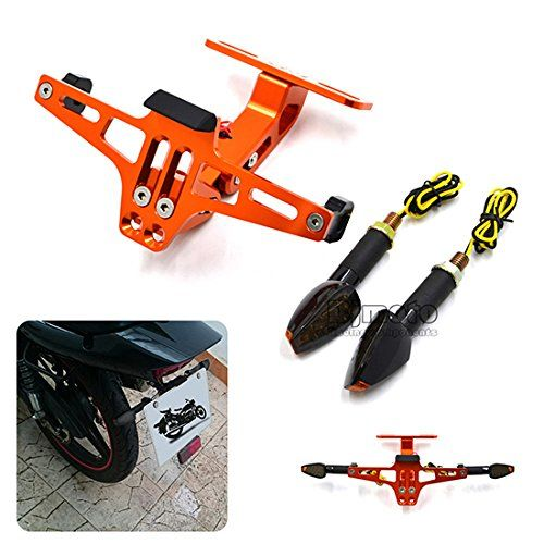 BJ Global High Quality Universal Motorcycle Multi-angle Adjustable License Number Plate Frame Holder Bracket With LED Turn Signal Light (Orange)  sc 1 st  Pinterest & Number Plate Holder+Turn Single Lights https://www.amazon.co.uk/dp ...