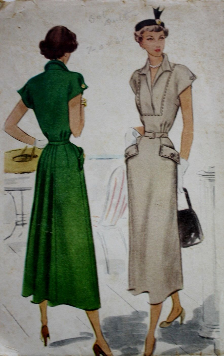 1940s Placket Front Dress Pattern - McCall 7580 - Vintage Sewing ...