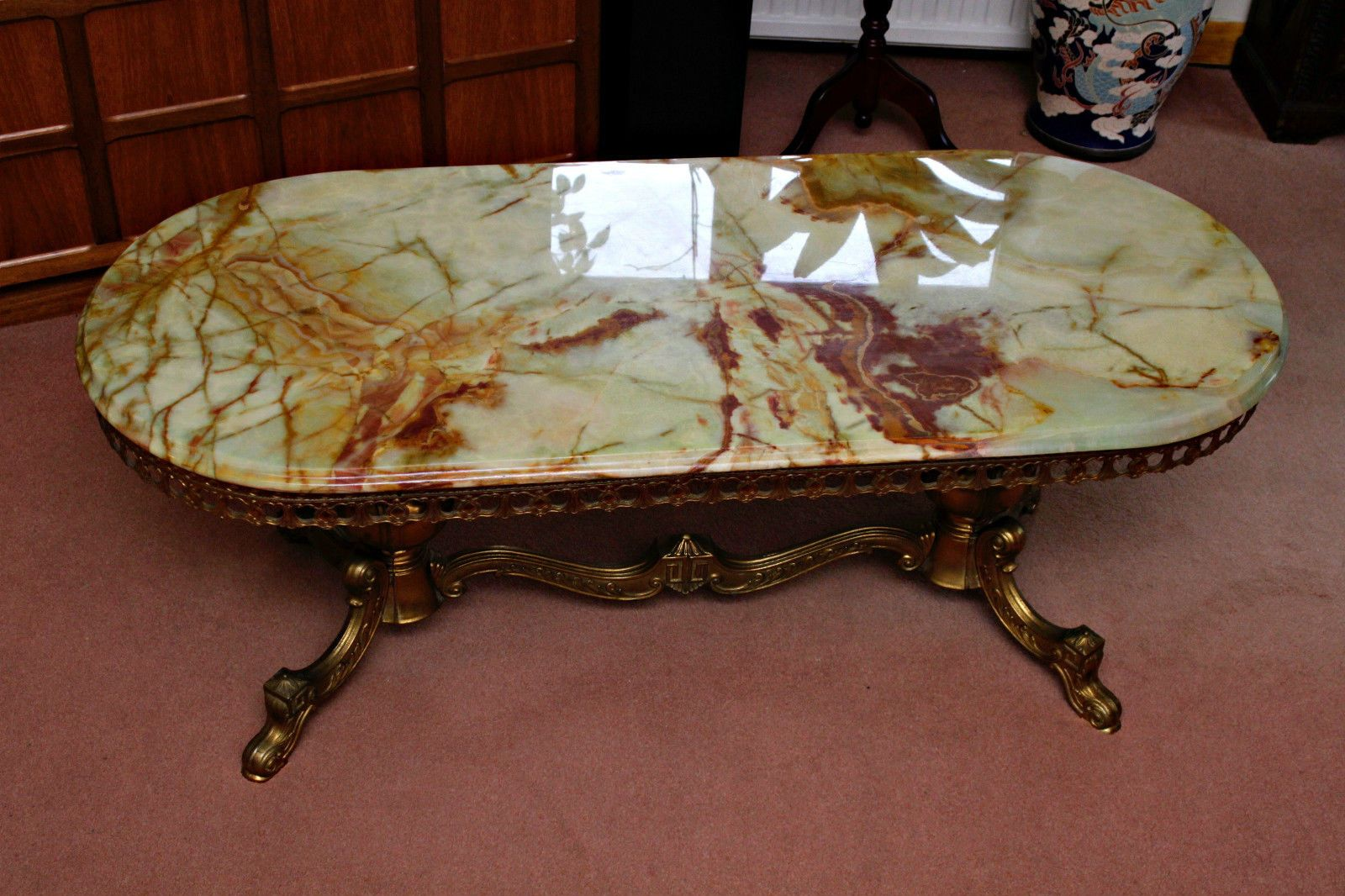 Antique Victorian Style Marble U0026 Brass Coffee Table