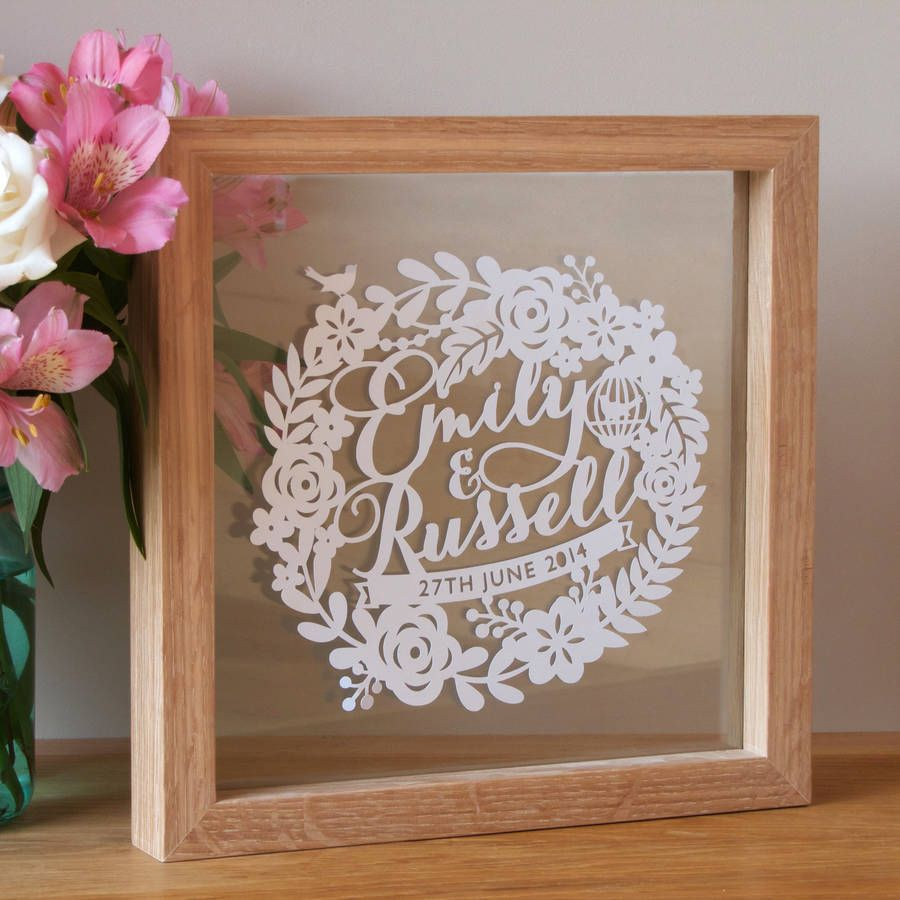 Ideas For First Wedding Anniversary Gift: Personalised First Wedding Anniversary Papercut