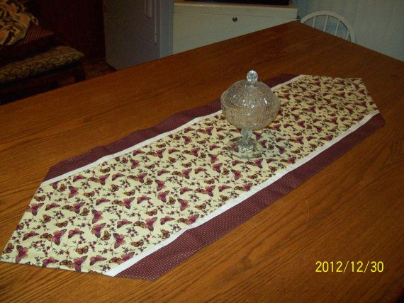 Handmade Table Runner with Butterfly print by TheMockingbirdNest