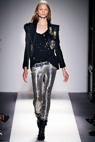 Balmain Silver Leather Pants