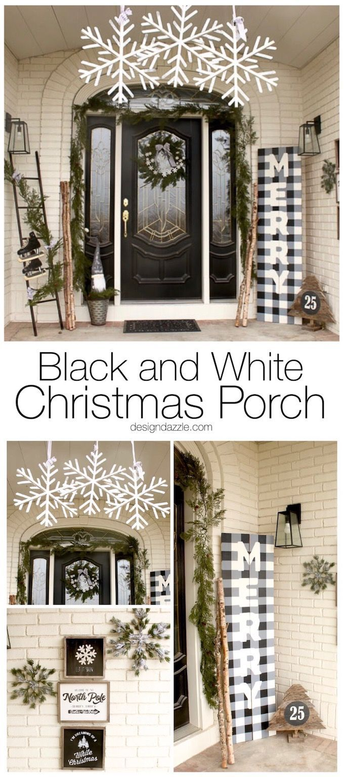 Outdoor porch christmas decorations  Black and White Christmas Porch  Christmas  Pinterest  Christmas