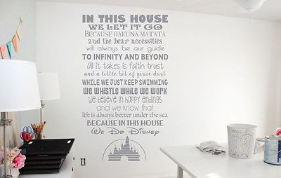 In this house inspired by disney wall art vinyl decal sticker. In white