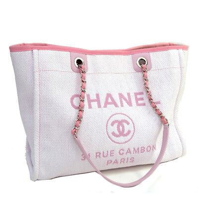 Auth CHANEL Deauville Chain Tote Bag A67001 Pink Canvas
