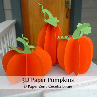 pumpkin template 3d  6D Paper Pumpkins - Free Patterns | Paper pumpkin, Pumpkin ...