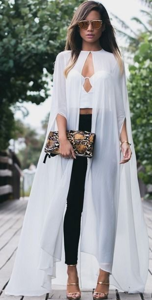 Trendy Cape Top Fashion Looks With Jeans Idea: MywhiteT #cape
