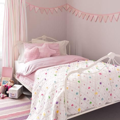 Nyla Pom Pom Quilt | Bright bedding, Childrens room decor ...