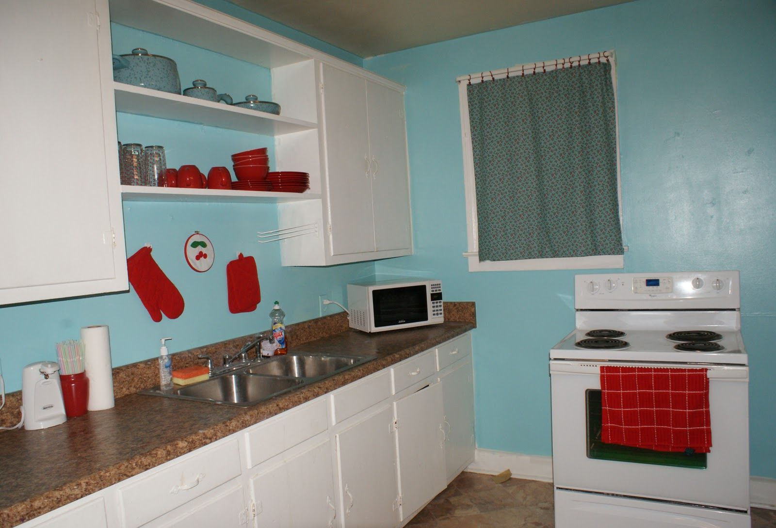 Red & teal kitchen | Coley\'s Corner: The Kitchen: Light Teal with ...