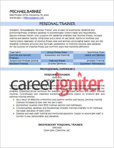 Personal Trainer Resume Sample Resume Pinterest Personal - fitness instructor resume sample