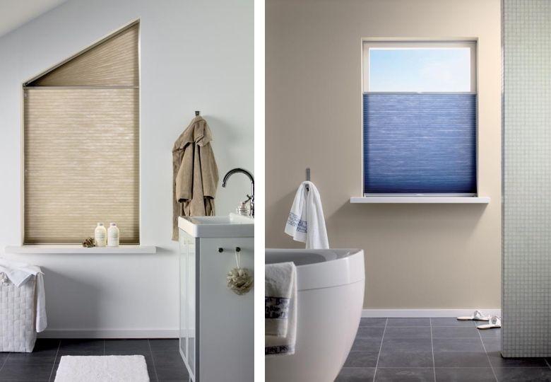 een badkamerraam kan perfect worden bekleed met een plissgordijn dit heeft als voordeel dat de