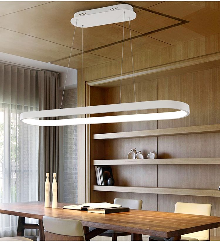 Rectangular Restaurant Modern Aluminium White Oval Pendant Light Fixture Oval Pendant Light Ova Hanging Lights Kitchen Hanging Ceiling Lamps Circle Chandelier