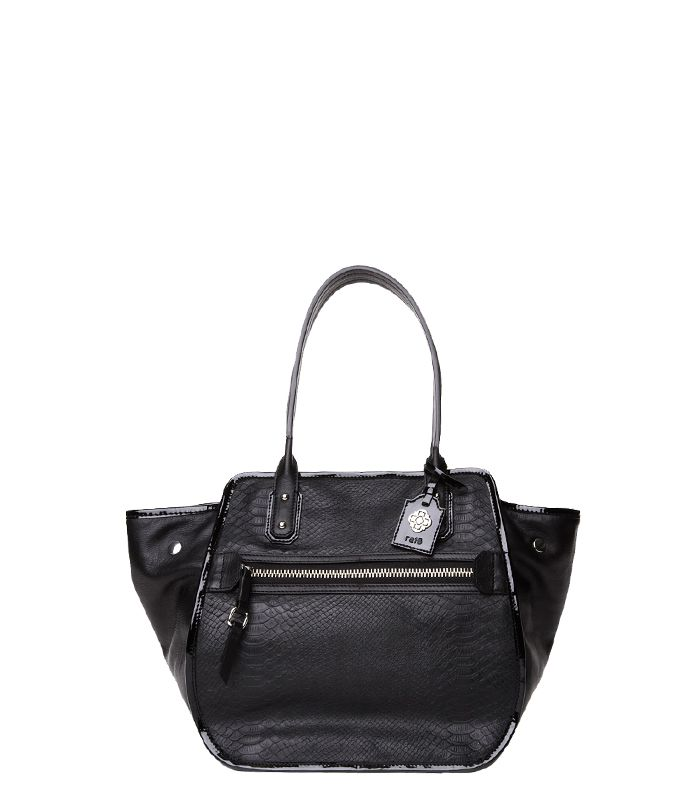 """Rafe """"Mercado"""" tote in embossed snake and pebble leather with patent trim available @Zappos Couture"""