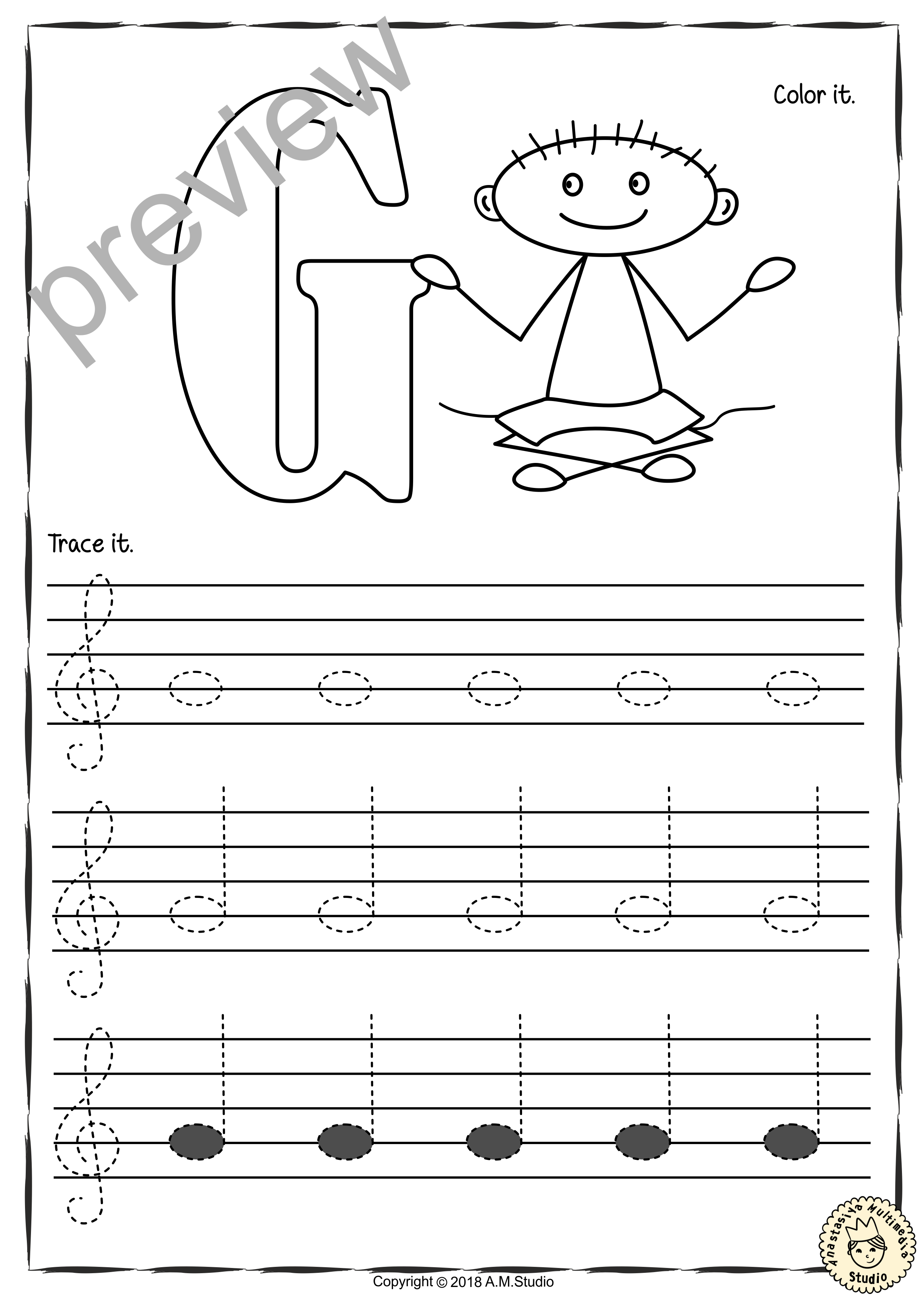 Tracing Music Notes Worksheets for kids {Treble Clef ...