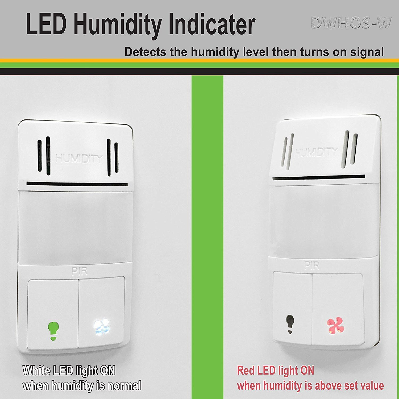 Enerlites Dwhos W Humidity Motion Sensor Switch For Bathroom Fan Light Dual Technology Controls 2 Loads Fa Bathroom Fan Light Humidity Sensor Motion Sensor