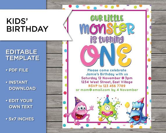 1st Birthday Invite 1 Year Old Boy Or Girl Monster Party Diy Template Editable Birthday Two Kids Invite Twins Birthday Printable Birthday Invitations Diy Kids Invitations Fishing Birthday Invitations