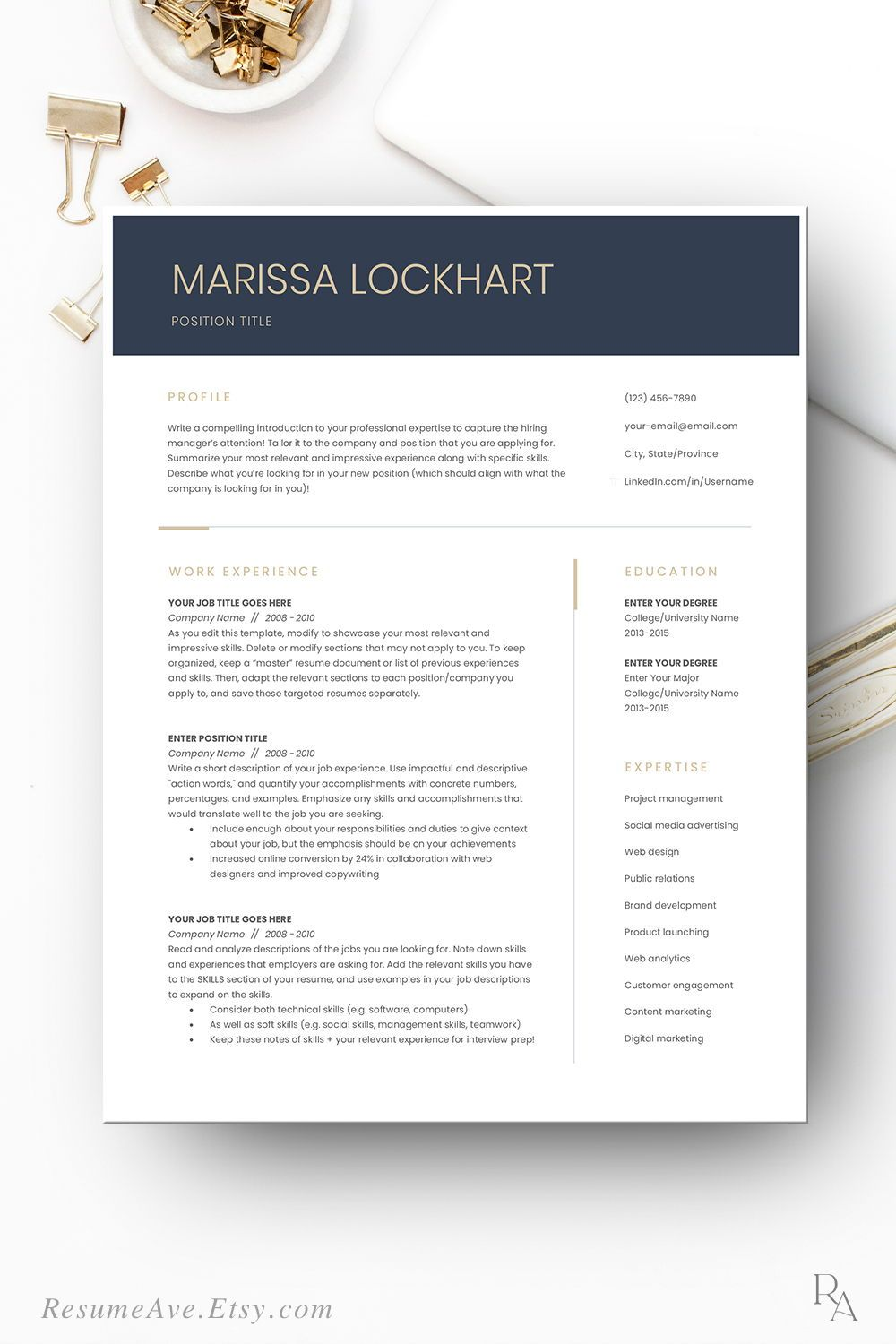 Profesional executive resume for digital download teacher
