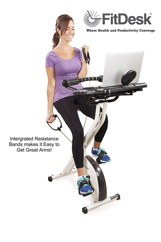 Amazon Com Fitdesk 2 0 Desk Exercise Bike With Massage Bar Sports Outdoors Biking Workout Upright Exercise Bike Desk Workout