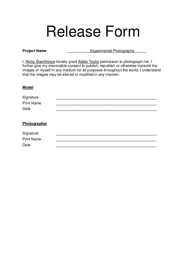 Model Release Form business template Pinterest Photography
