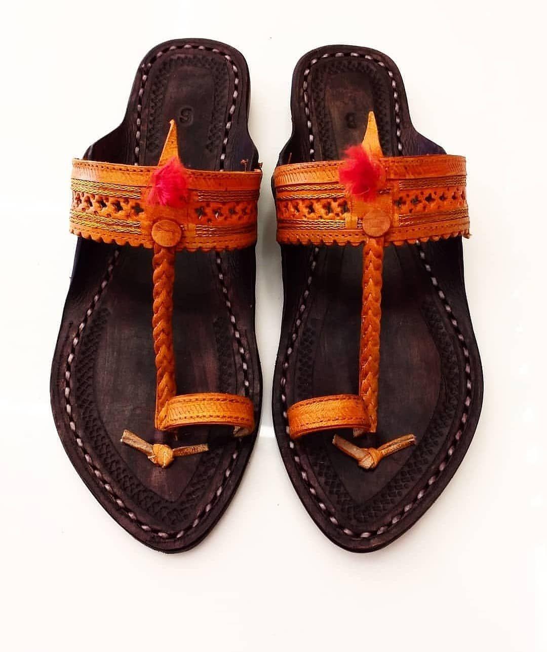 US 9 men Sandal Handmade Leather Shoes Flip Flop traditional Kolhapuri Chappal