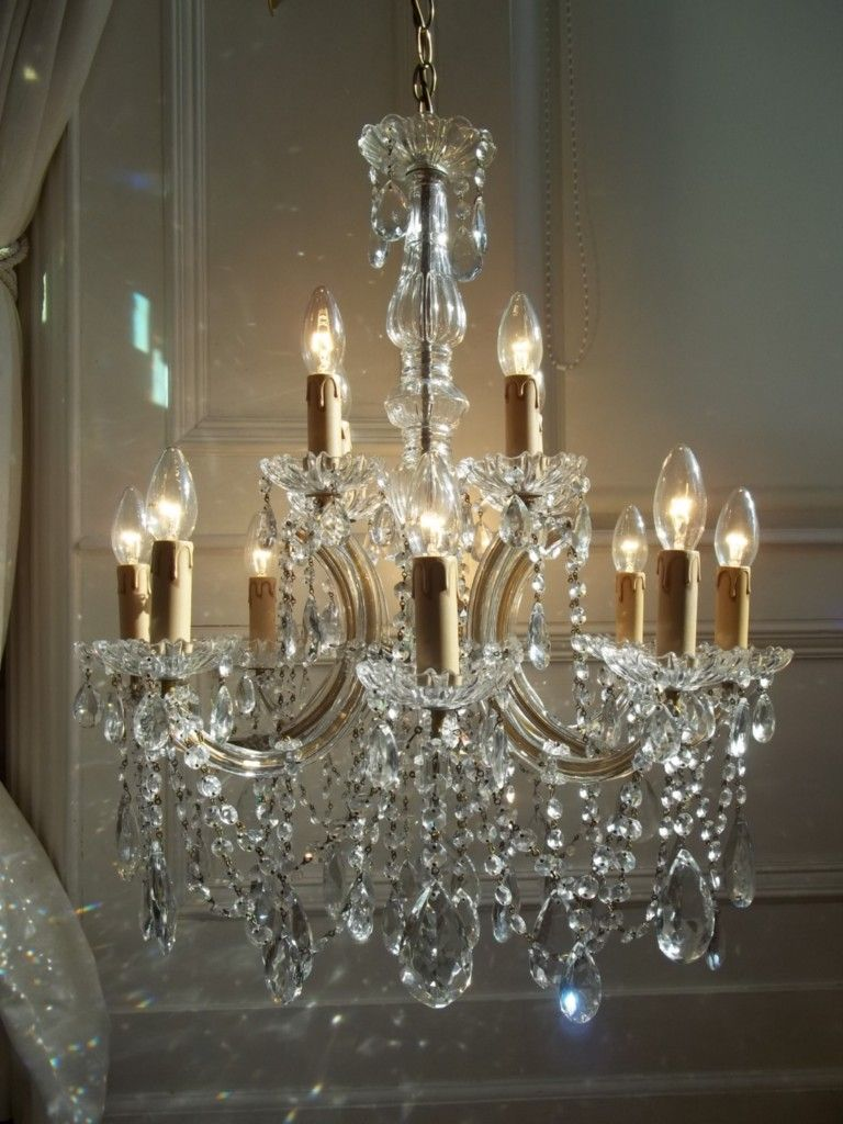Large French Vintage 12 Light Crystal Chandelier