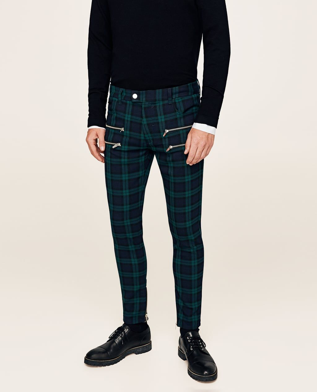 a067d501 CHECKED TROUSERS WITH ZIPS-NEW IN-MAN | ZARA United States | MENS ...