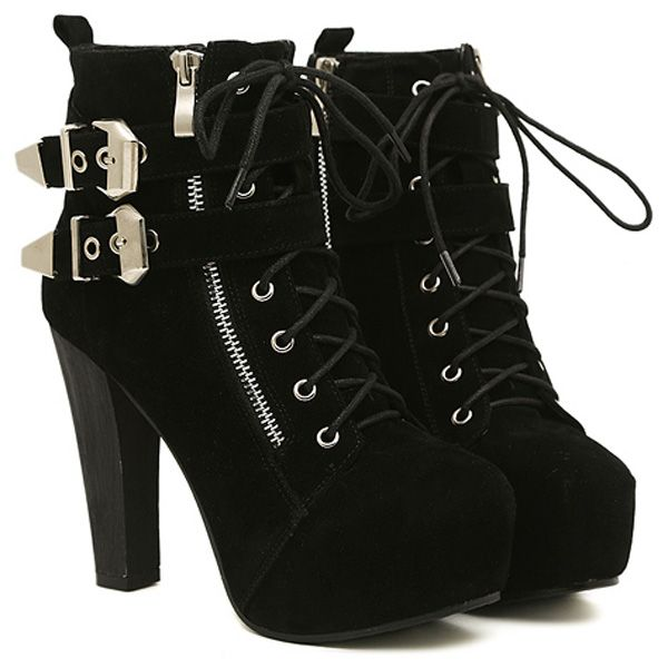 $33.99 Black Faux Suede Lace-up Buckle Chunky Heel Booties @ MayKool.com