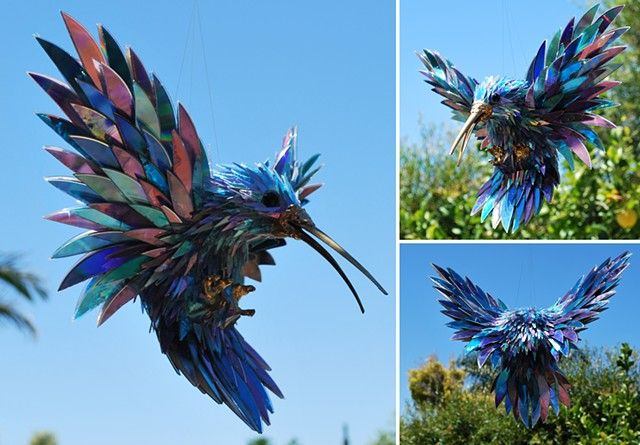 Hummingbird sculpture made from recycled cds by sean avery