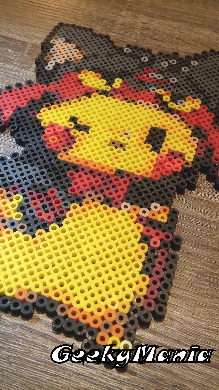 Pikachu Déguisé En Litten Réalisé En Perler Beads