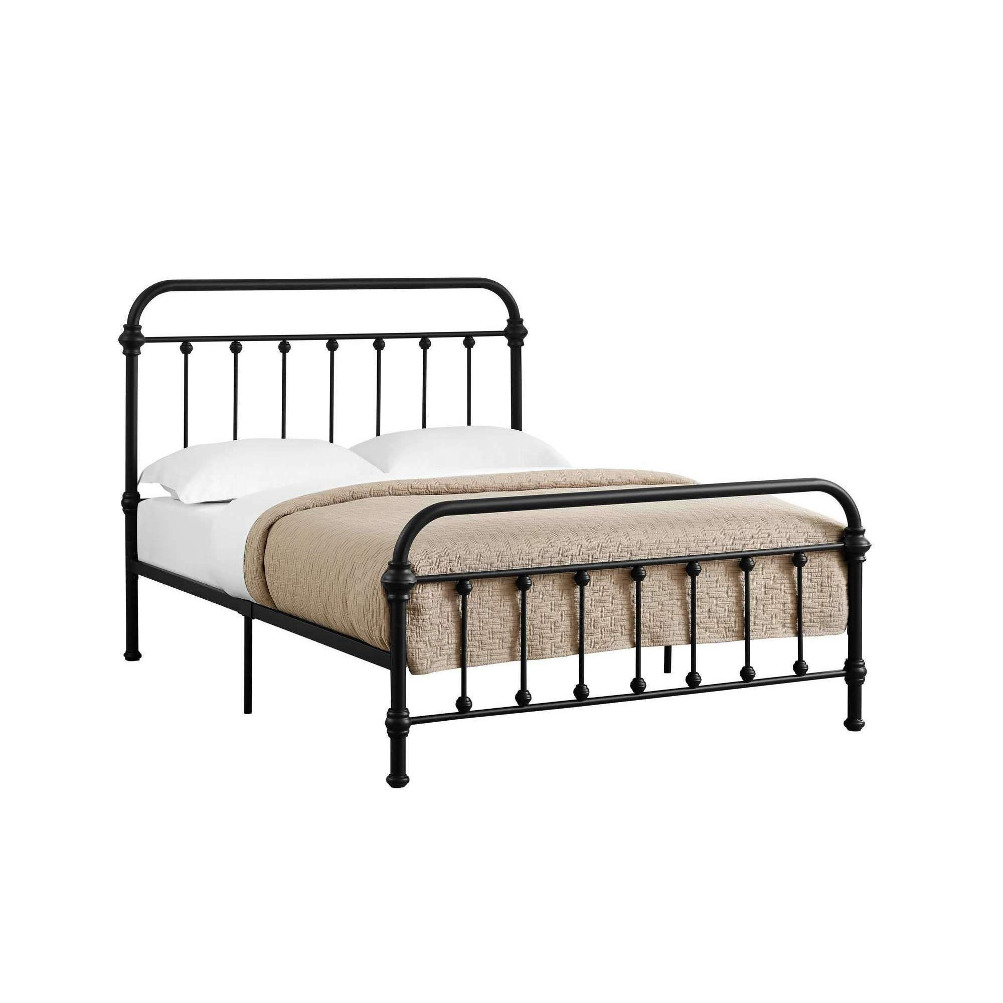 Bed Full Size Black Metal Frame Only Black metal bed