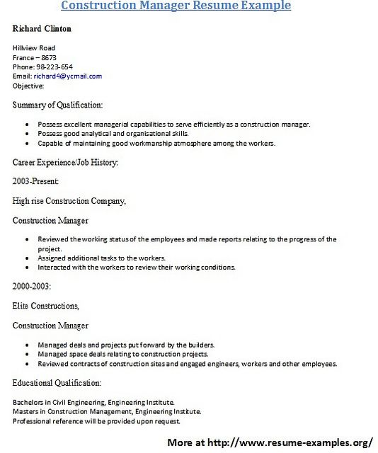For More And Various Construction Resume Sample And Examples Visit